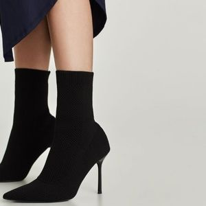STRETCH FABRIC High Heel ANKLE Sock BOOTS *FLAW*